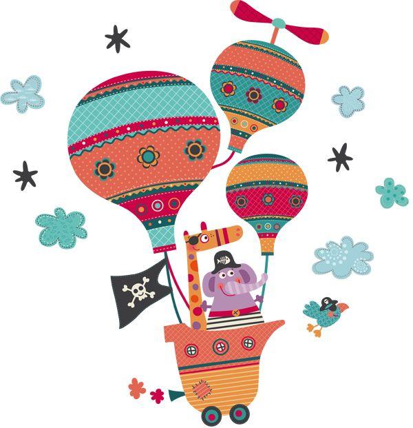 Vinilo infantil globo pirata
