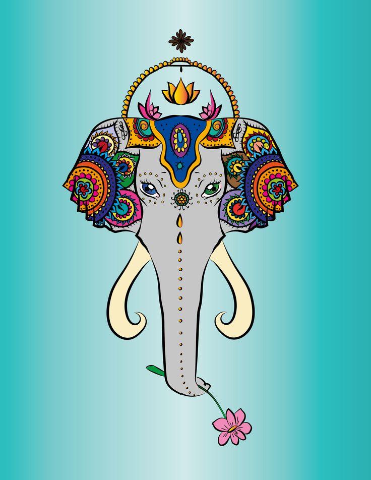 Indian Elephant, Elephant, Zen, Peace, Drawing, Illustration, Design, Isabel Pugliese