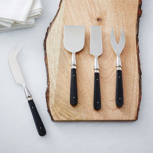 A twisted detail at the neck adds a modern update to our retro-inspired Turned Resin Cheese Knives.
