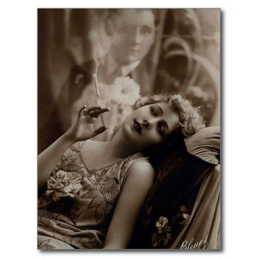 1920s Art Deco Woman Smoking Postcard | Zazzle.com