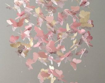 Silhouet Butterfly kroonluchter mobiel, in roze, vanille en witte mix, Baby mobiele, kwekerij mobiel, baby meisje mobiel, mobiele, vlinder mob
