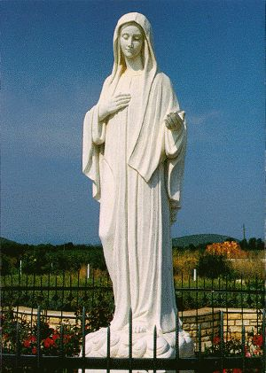 Our Lady of Medjugorje Statue Europe European Town Travel Catholic Pilgrimage Tours Religion Town Pilgrimage Holy Land Tours Catholic Journey Spiritual Journey Catholic Pilgrimage Secular Tours Religious Tours Catholic Christian Sightseeing Group Travel Medjugorje Bosnia Herzegovina