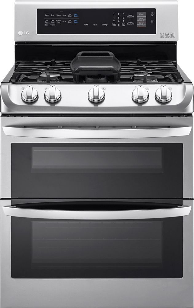LG - 6.9 Cu. Ft. Gas Self-Cleaning Freestanding Double Oven Range with ProBake Convection - Stainless Steel (Silver)