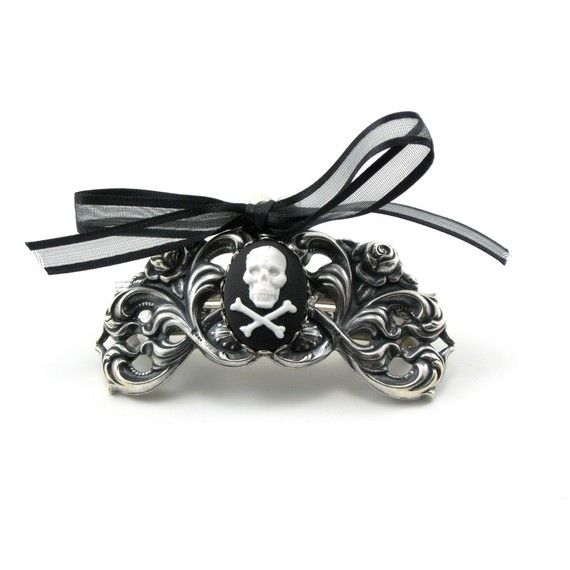 haloween accessory?! Gothic Lolita French Clip with Skull and Crossbones Cameo Accent - By GhostLove