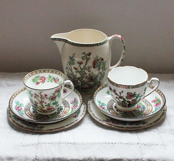 Indian tree Vintage tea cups English tea set for two Water jug