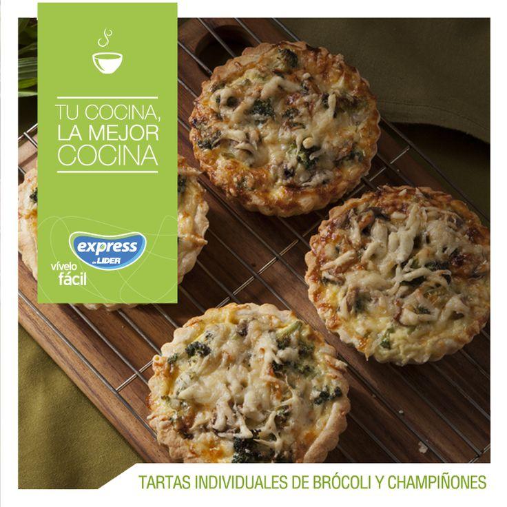 Tartas individuales de brócoli y champiñones #Recetario #Receta #RecetarioExpress #Lider #Food #Foodporn #Champiñones #Brócoli