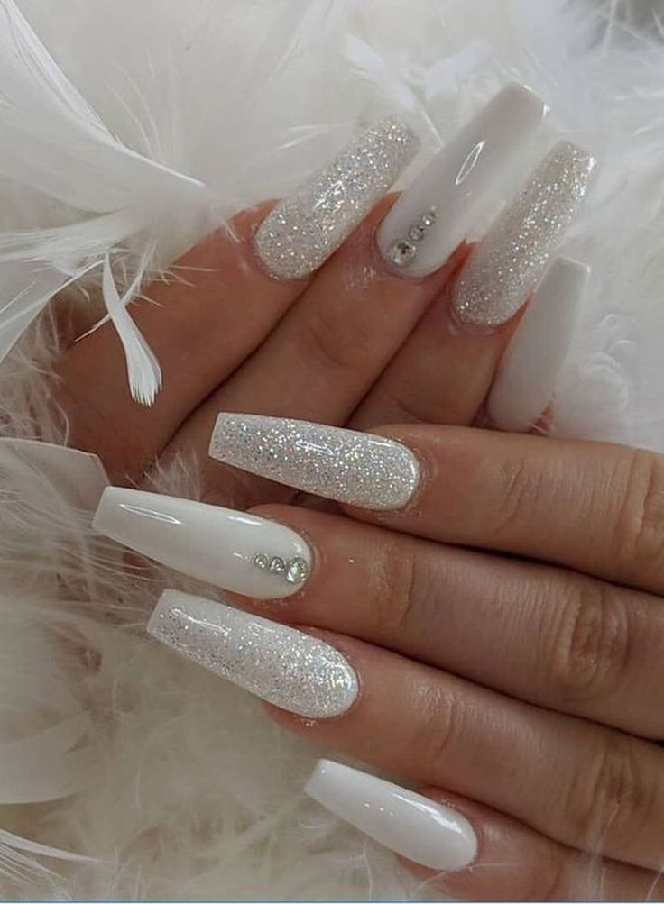 White Coffin Nails With Rhinestones And Glitter Bridal Nails Inspo Simple Fall Nails Pretty Acrylic Nails Coffin Nails Designs