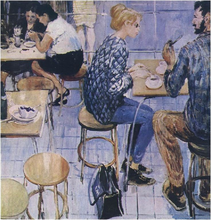 Yuri Pimenov (Russian, 1903-1977) In the café, N/D Oil on canvas
