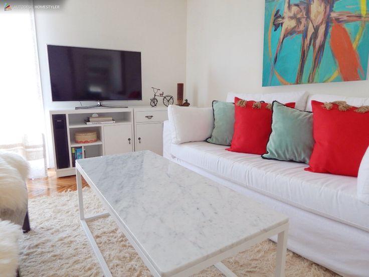 Modular tv laqueado blanco + mesa marmol...