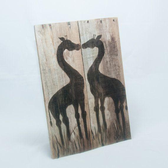 Valentijnsdag geschenk Giraffe kunst Giraffe door SimplyPallets