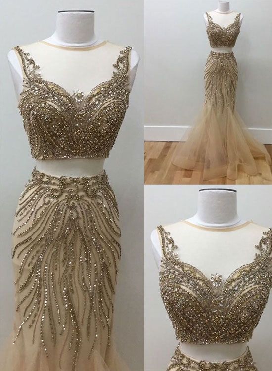 Gold beads two pieces prom dress, tulle evening