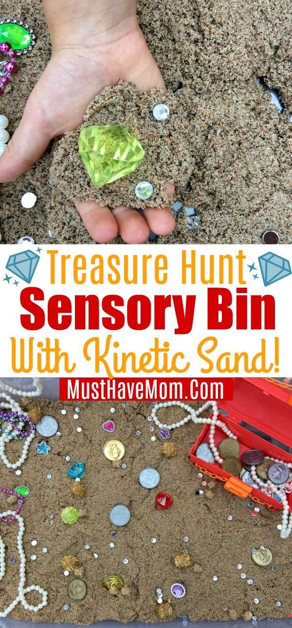 c018efeefd Pirate treasure sensory bin with Kinetic Sand and hidden treasures! Fun  kids activities to keep kids busy with sensory play. #kineticsand  #sandisfying #ad ...