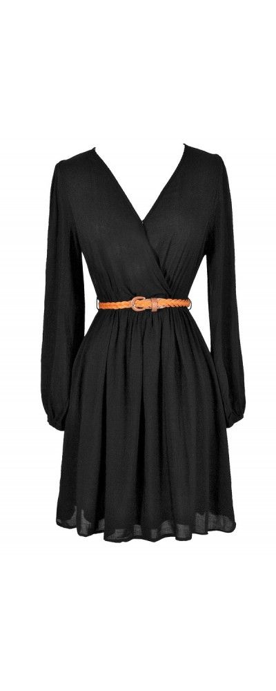 Ready For Anything Belted Surplice Dress in Black  www.lilyboutique.com