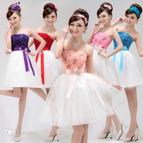 Vente en gros de femmes formelles courte floral soirée robe de cocktail de mariage robe de demoiselle d'honneur, $20.34 sur Fr.dhgate.com | DHgate