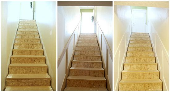 Lovely white board and batten type wall treatment on the lower half of the walls adds interest to stairs using MDF.