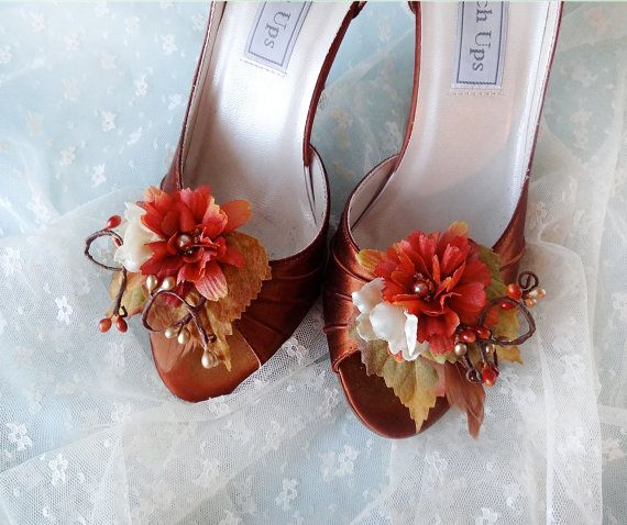 fall wedding shoe clips, autumn shoe clips, rust wedding, orange flower - BARN DANCE - rustic wedding accessories