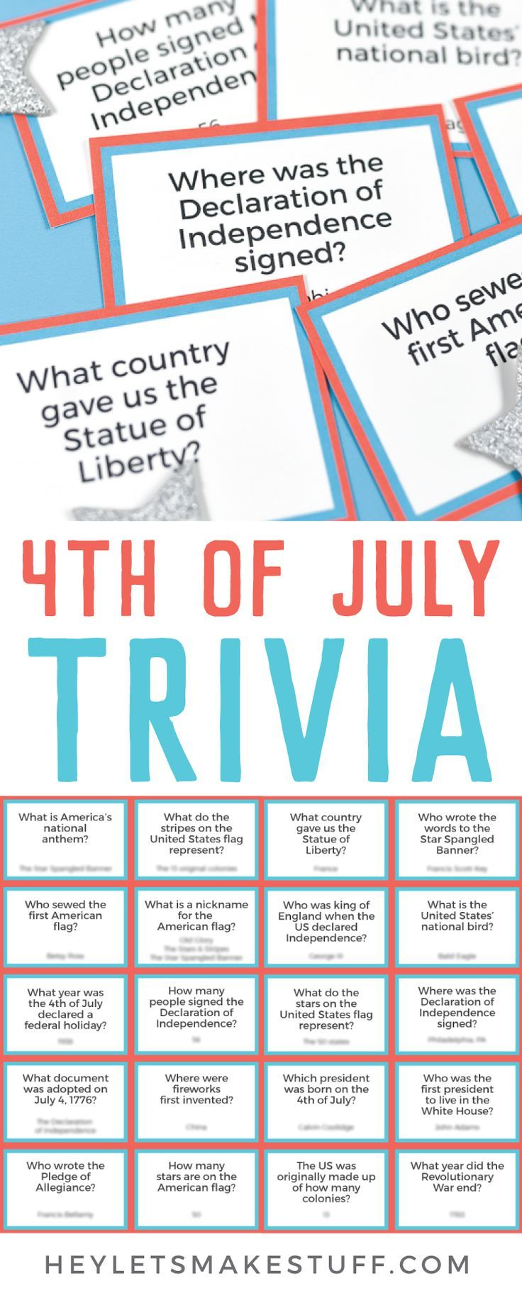 photograph about 4th of July Trivia Printable named Printable Fourth of July Trivia Fourth of July 4th of