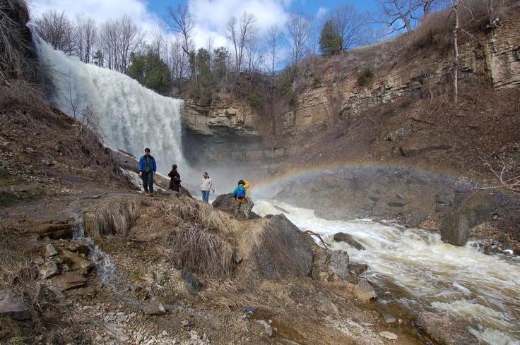 Hiking behind waterfalls, Websters in Dundas, Ontario, Canada