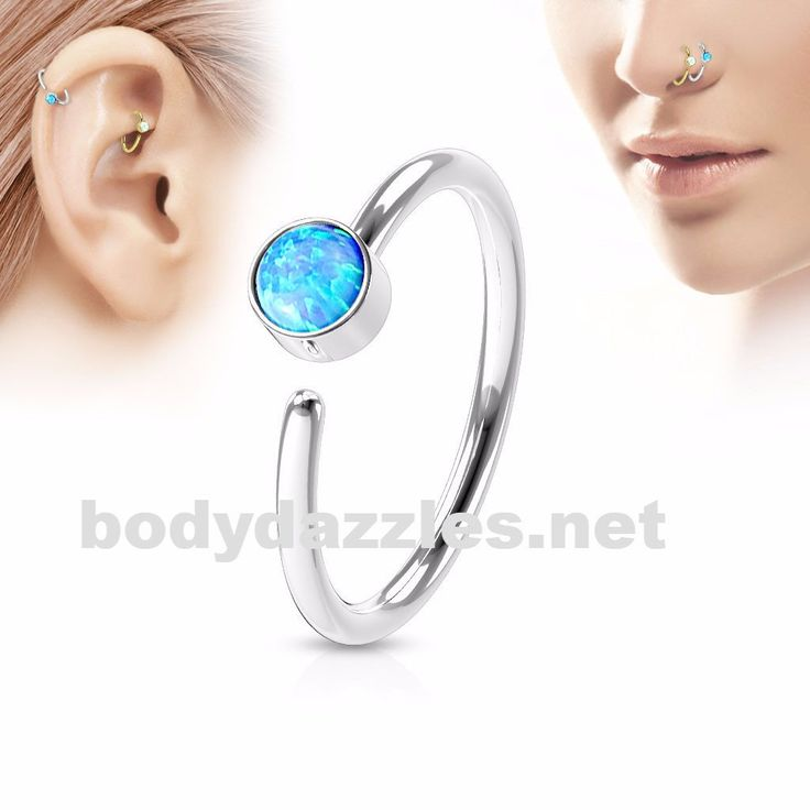 Blue Opal Set Surgical Steel Nose Hoop Ring Nose Ring Body Jewelry 20ga