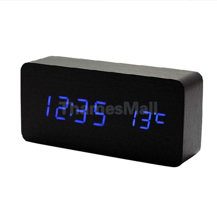 Digital Snooze Alarm Clock Blue Led Dimmer Sound Control Temperature Black