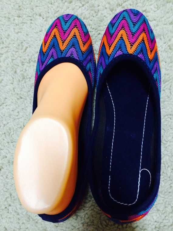 Womens Ballet flats Chevron Shoes Handmade flip Flops by Artsiart, $25.99