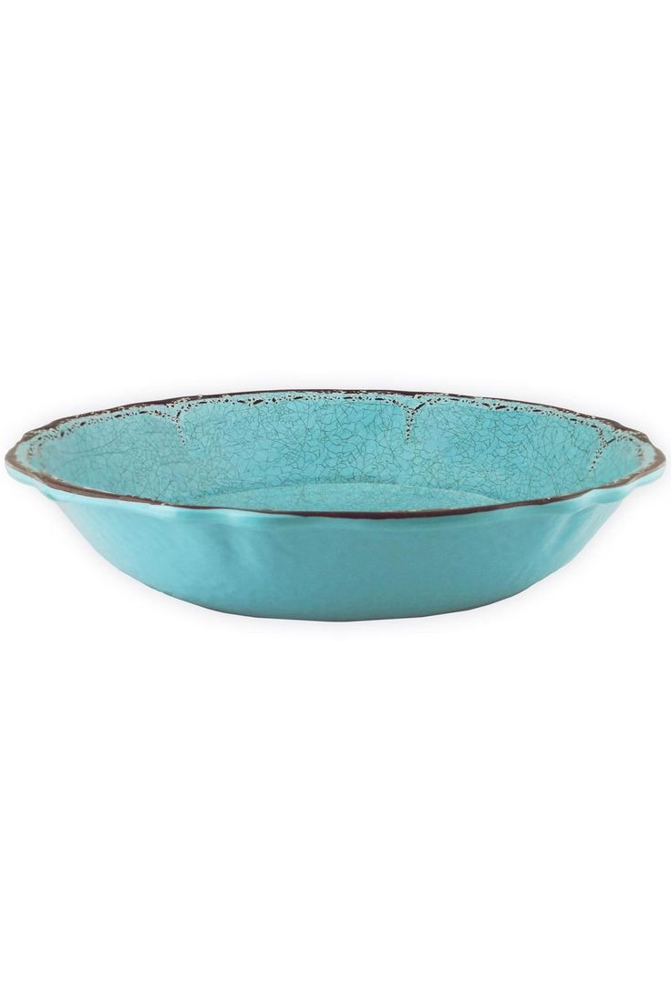 "Antiqua Turquoise. Le Cadeaux is designed with a much heavier than typical melamine weight. It is unbreakable and dishwasher safe.     Size: 13.5"" x 3"" H   Salad Bowl - Turquoise by Le Cadeaux. Home & Gifts - Home Decor - Dining Texas"
