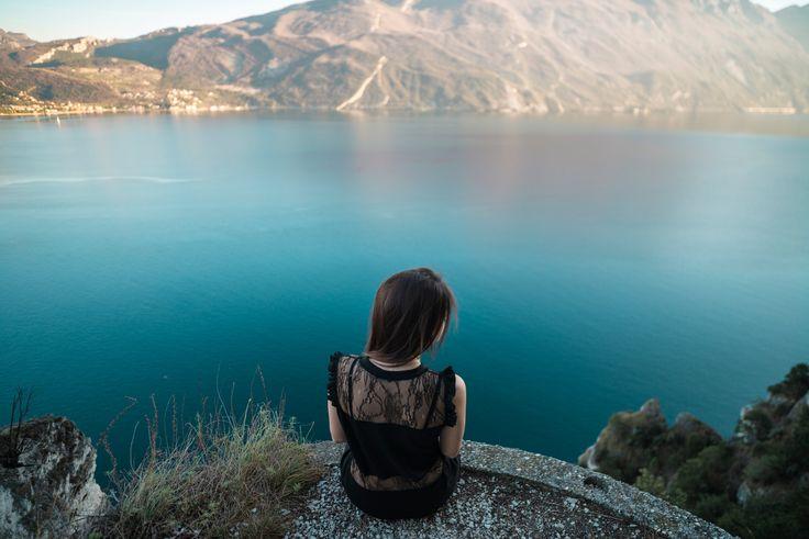 Looking at the horizon. - A shot taken during an excursion on the Ponale path on lake Garda, Riva del Garda, Trentino alto Adige, Italy.