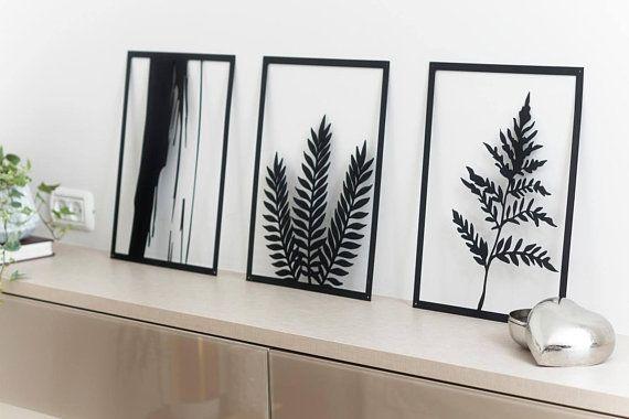 Set Of 3 Wall Art Metal Home Decor Interior Decor Botanical