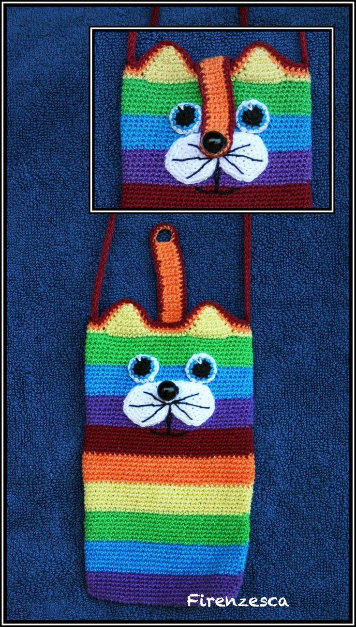 """iphone case cover crochet amigurumi cat raimbow peace lgbt portatelefono uncinetto arcobaleno gatto """"Francesca Birini"""""""