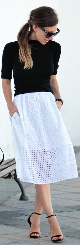 Black Turtleneck White Crochet Midi Skirt