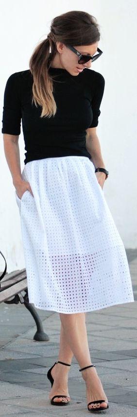 Black Turtleneck White Crochet Midi Skirt