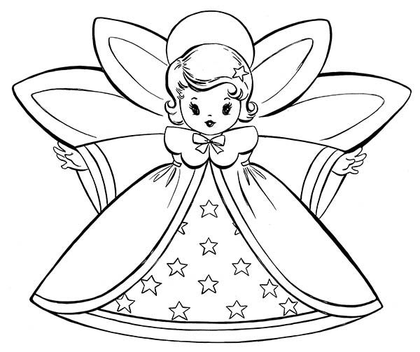 Little Angels Spreading Wings Coloring Pages For Kids Printable Christmas