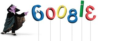 google doodle to celebrate sesame street's 40th anniversary (count von count)