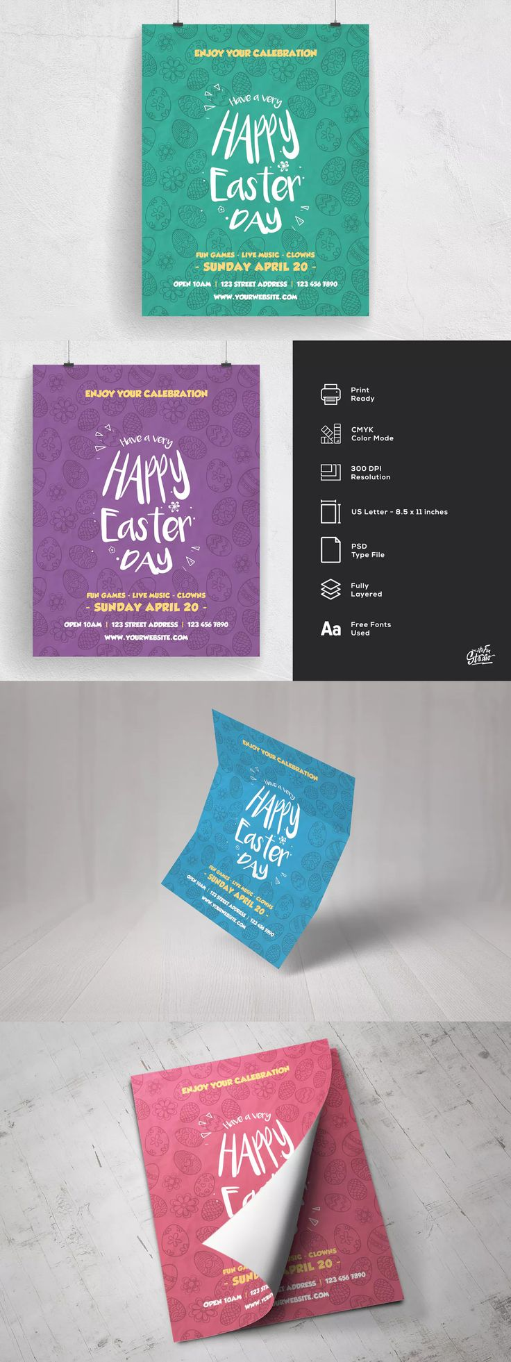 Happy Easter Day Flyer Template PSD US Letter Size