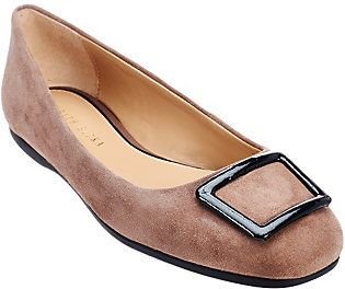 Judith Ripka As Is Sued Slip-on Flats w/ Buckle Detail - Sally
