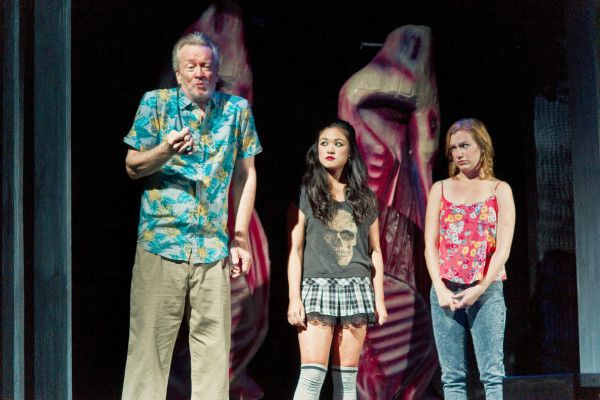 David Cairns as Sonny Kaplan, Sherman Tsang as Lucy Lee, Lindsey Middleton as Marnie Kaplan in George F. Walker's We The Family at Hart House Theatre, photo Scott Gorman