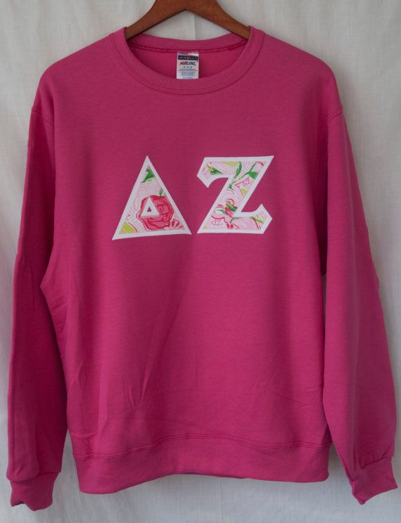 Cyber Pink Sweatshirt With Delta Zeta Lilly fabric!