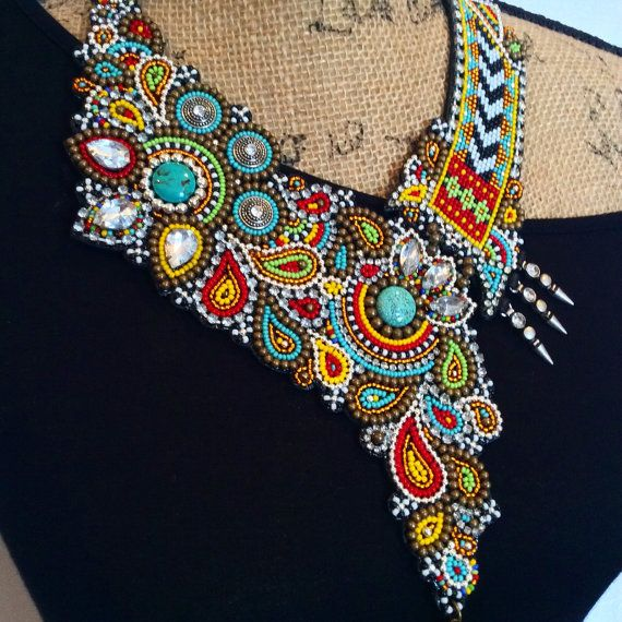 Asymmetrical Bead Embroidery Necklace with Tassel, Statement Necklace, Beadwork Necklace