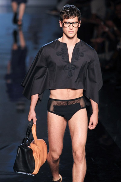 Jean Paul Gaultier Men's Spring Summer 2011...... I just want to know why he's wearing my great aunt's 1972 bathing attire...