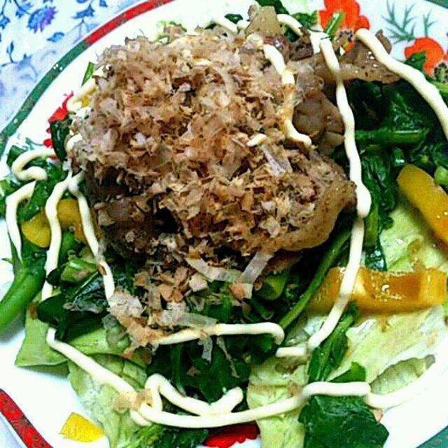 お昼に食べた焼き肉が余ったのでサラダうどんにのせてみました(笑) - 1件のもぐもぐ - 焼き肉サラダうどん by sakura612