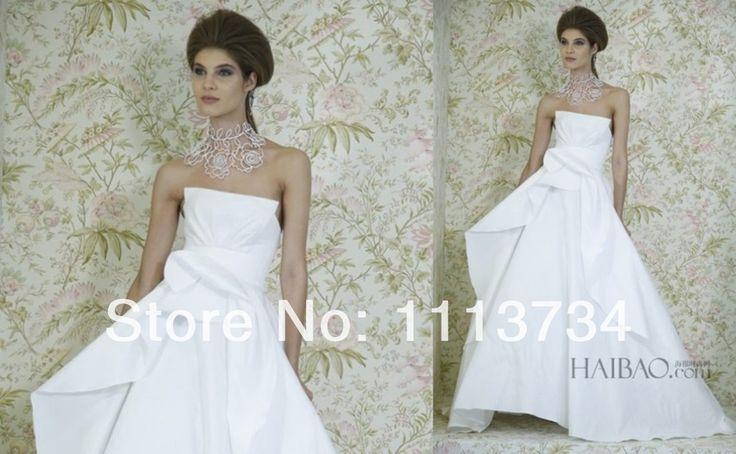 Купить товарНью йорк мода 2015 весна лето свадебные платья без бретелек декольте складки платье линии белая повязка свадебные платья в категории Свадебные платьяна AliExpress.                        Д