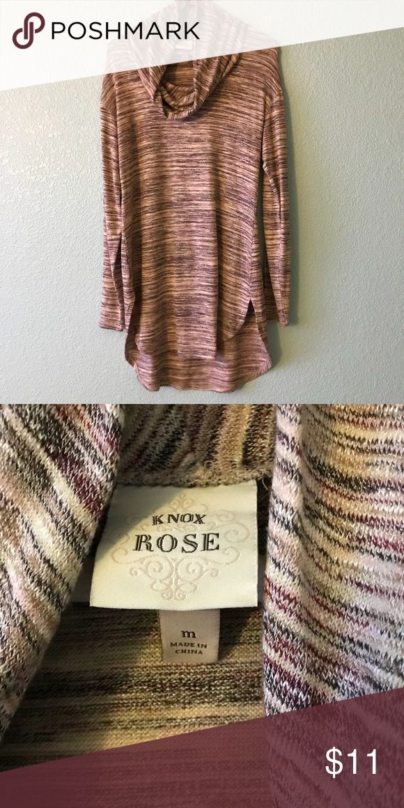 Knox Rose knitted women's top Shades of brown and gold make up this beautiful women's sweater. With cow neck. Size medium. Knox Rose Tops Sweatshirts & Hoodies