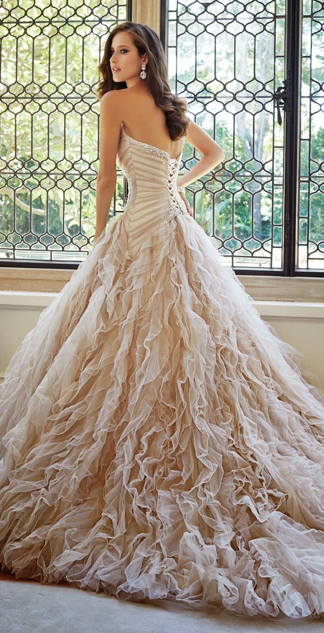 GORSET ! :O !   champagne bridal gown | amazing wedding dress | Sophia Tolli Fall 2014 Bridal Collection
