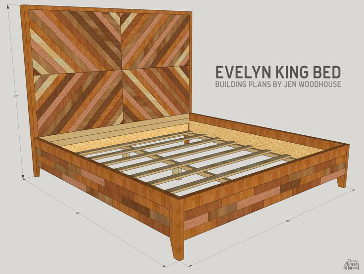 How to build a DIY West Elm Alexa Chevron Bed - King size bed building plans by Jen Woodhouse