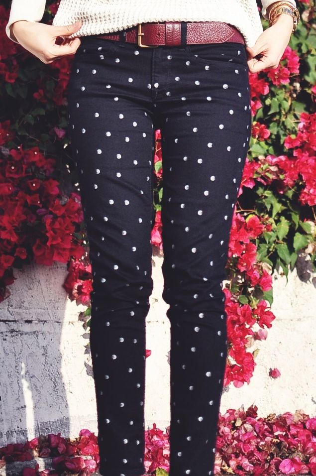 polka dot denim because of the darkness of the background it slims while still being a fun pattern. Also the polka dots are small so it's subtle!