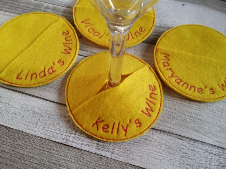 My wine - set of 4 personalised wine glass name markers - place cards, drink coaster, name tag, wine glass charms - by glass slipper company by GlassSlipperCompany on Etsy