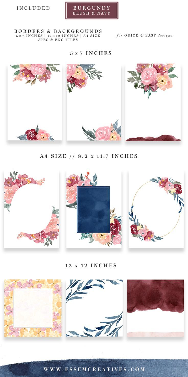 Burgundy Blush Navy Watercolor Backgrounds 5x7 Floral Borders In
