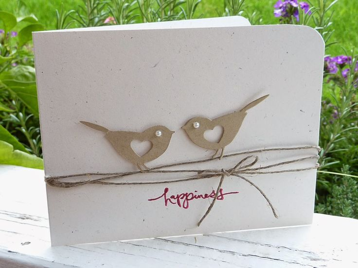 handmade card from Creating is Fun!: ... pair of die cut birds on twine lines ... clean and simple ... luv it!