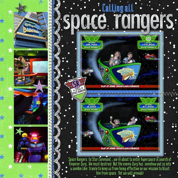 Disney world Buzz Lightyear Astro Blasters scrapbook page layout
