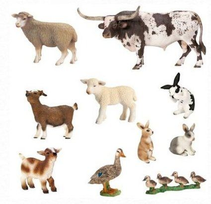 Amazon.com: Schleich World of Nature Farm Animals Series 1: Toys & Games These are fantastic for matching exercises and free play.